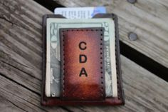 Groomsmen Gift Personalized Brown Leather Wallet & Money Clip on Etsy, $19.95