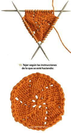 Curso para tejer con 4 o 5 agujas de dos puntas - knitting tutorial: how to knit with 4 or 5 dpns Diy Crochet And Knitting, Lace Knitting, Knitting Stitches, Crochet Hats, Stitch Patterns, Knitting Patterns, Crochet Patterns, Knitting Projects, Crochet Projects