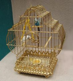 1:12th scale dollhouse miniature birds in a cage