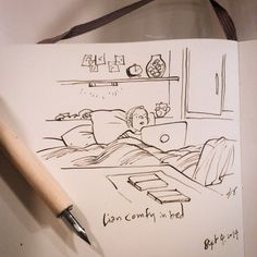 My #sister hard at #work #bed #ink #illustration