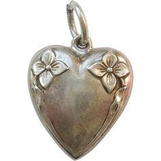 Sterling Silver Puffy Heart Charm - Art Nouveau Flowers