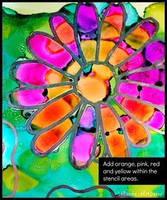 The alcohol inks stayed within the stencil lines when adding drops of bright colors over the green background. Click through for tutorial images using StencilGirl stencils with Alcohol Ink by Maria McGuire.