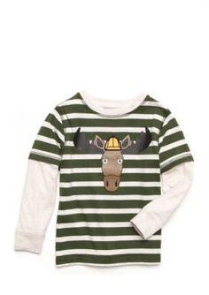 J. Khaki Long Sleeve 2 In 1 Graphic Tee Boys Toddler - Moose Green - 4T