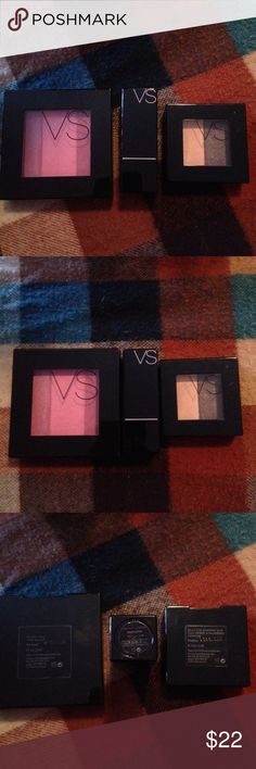 VS Makeup Bundle Victoria's Secret Makeup You get 4 items.. VS Trio Blush in At Last VS Lipstick in Dedication VS Eyeshadow Duo in Frenzy Nyx Lip Cream in Buttery Nude Swatch once.. Have been Sanitized Victoria's Secret Makeup