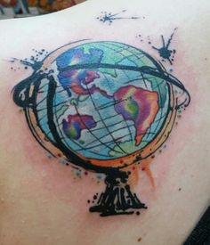 371484a47 Watercolor globe, Abby Hume @ Studio Evolve; Virginia Beach, VA Globe  Tattoos,
