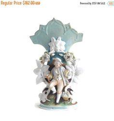 On Sale Antique Porcelain Vase, Decorative Rare Vase, Painted Figurine, Porcelain Flowers, Victorian Vase, Young Gentleman, White Blue Artis