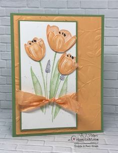 Tranquil Tulips stamp set in Peekaboo Peach, Stampin' Up! Handmade Greetings, Greeting Cards Handmade, Making Greeting Cards, Stamping Up Cards, Creative Cards, Unique Cards, Pretty Cards, Watercolor Cards, Card Sketches