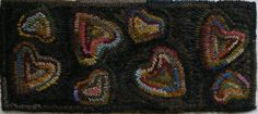 HAND MADE PRIMITIVE HOOKED RUG ~ HIT & MISS HEARTS HOOKED RUG ~ EARLY STYLE in Antiques | eBay
