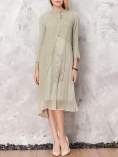 Shop Midi Dresses - Floral A-line Long Sleeve Vintage Painted Midi Dress online. Discover unique designers fashion at StyleWe.com.