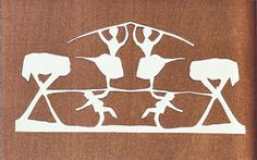 Symmetry, Silhouette and Contrast. Hans Christian Anderson's paper cuts are perfect examples of symmetry. This one reveals the mirror image of a tree, a dancing man and a dancing woman. The silhouette nature emphasises the design to the eye and creates a dramatic value contrast to the background.
