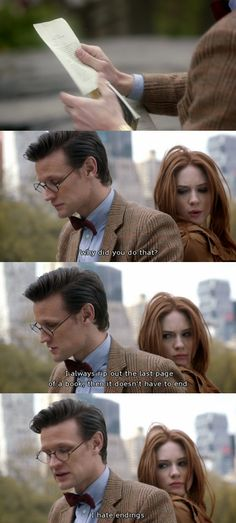 """The Eleventh Doctor and Amy Pond -- Angels Take Manhattan -- """"I hate endings."""""""