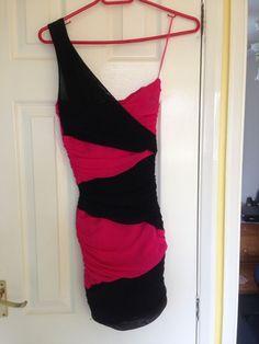 dcbaa8d4d3f4f GORGEOUS Jane Norman Fuchsia & Black 1 shoulder wiggle dress Size 10  #fashion #