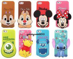 3D Disney Cartoon Big Head Silicone Soft Back Full Case Cover For iPhone 5 5C 5S