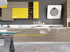 Kitchen Cabinet Design, Kitchen Interior, Yellow Kitchen Designs, Kitchen Board, Küchen Design, Double Vanity, Sweet Home, Pure Products, Furniture