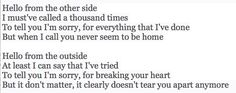 Adele - Hello Music Hits, I Call You, You Never, Adele, To Tell, I Can, The Outsiders, Sayings, Lyrics