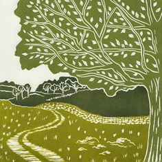 'Yorkshire Dales 1'. Limited edition linocut print. My linocut prints are inspired by nature; my love of gardening and the great British countryside. My interest in 1950s textiles and ceramics also influences much of my work. I love exploring the countryside by bike or on foot, camera in hand, capturing ideas for my next prints. www.michellehughes.co.uk