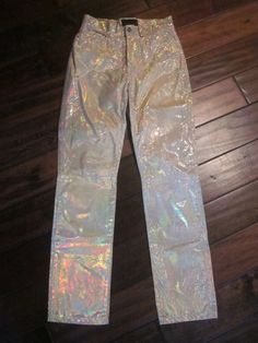 Rare Vintage Versace exte Jeans Leather Hologram Sz 29