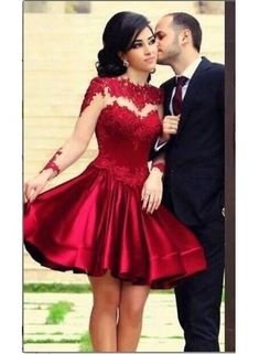 USD$139.51 - New Arrival Homecoming Dresses High Neck Long Sleeves Sheer Lace Satin Knee Length Party Gowns - www.babyonlinedress.com
