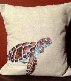 Sea Turtle Painted Decorative Pillow on Etsy, $42.16 AUD