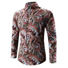 Mens National Printing Fashion Casual Plus Size Slim Fit Long Sleeve Shirts