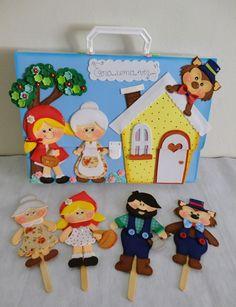 Kit Maleta Viajante e palitoches no Elo7 | Patrícia de Souza Coelho (D2AE99) Professional Puppets, Felt Templates, Puppet Patterns, Foam Crafts, Classroom Crafts, Bible Lessons, Diy For Kids, Montessori, Fairy Tales