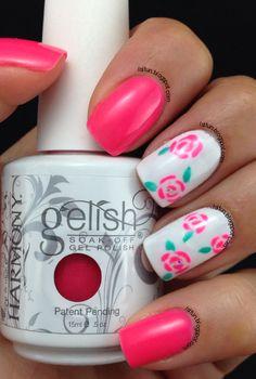 Rose Nail Art With Gelish #lslfunblog