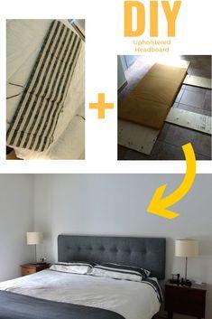 DIY upholstered headboard with garden mat / DIY fabriquer une tête de lit rembourrée avec un matelas de jardin #headboard #tetedelit