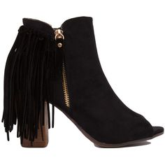 AKIRA Black Label Open Toe Fringe Heeled Ankle Boots - Black ($34) ❤ liked on Polyvore featuring shoes, boots, ankle booties, black, chunky heel booties, black open toe booties, black fringe booties, black chunky heel booties and fringe booties