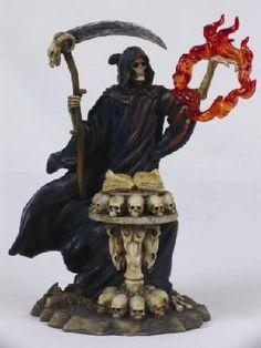 Grim Reaper Spellbound Fire Figurine with Grimoire Magic Book