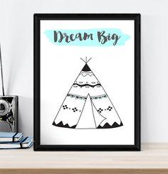 A4 Nursery Bedroom Wall Art Print -Baby Kids Boys Girls - Tribal TEEPEE