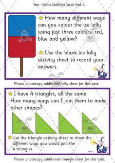 Teacher's Pet Activities & Games » Year 1 Maths Challenge Cards (pack 2) » EYFS, KS1, KS2 classroom activity and game resources » A Sparklebox alternative