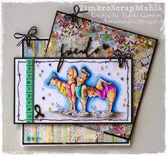 """Art Impressions """"The Weigh In Girlfriendsby"""" rubber stamp coloured with Giotto Supermina pencils by L'Universo di Eu"""