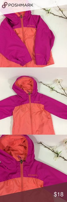 🌿Colorful Columbia Girl's Windbreaker size 3T🌿 This adorable girl's Columbia windbreaker is perfect for the changing season! The colors are bright and beautiful so you'll be able to pick your young lady out of a crowd! Size 3T. *see small faint stain at very bottom of zipper in last picture. Hardly noticeable but worth noting. Columbia Jackets & Coats Raincoats