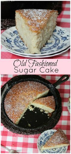 Old Fashioned Sugar Cake-made in a cast iron skillet, no icing needed for this light and flavorful cake!