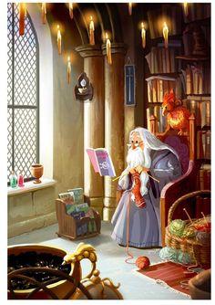 Albus Dumbledore knitting