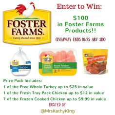 Win a bundle of Foster Farms products valued at $100 to help feed a crowd for football season.