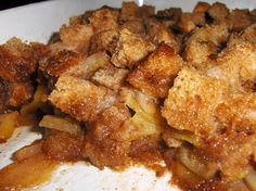 Pioneer Woman's Apple Brown Betty-great way to use old apples & bread. I added cinnamon & 2 additional large apples for a perfect YUMMY treat! ; )