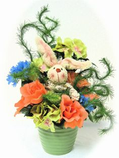 Spring Silk Floral Arrangement  Bunny Patch by SandyNewhartDesigns