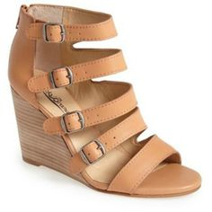 Lucky Brand Reynolds Womens Tan Leather Wedge Sandals Shoes -- For more information, visit image link.