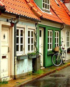 Old street in Aalborg, Denmark
