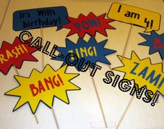 Callout signs for spiderman party 6th Birthday Parties, Boy Birthday, Third Birthday, Spiderman Theme, Spiderman Birthday Ideas, Party Themes For Boys, Superhero Party, Party Time, Diy