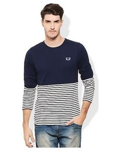 Indiatimes offers Rigo Navy Blue & white srtiped men t-shirt only in Rs. 299. This product have following features. Key Features Material: Cotton Pattern: Striped Fit: Slim Wash Care: Gentle Machine Wash For more detail or buy this product go to offer page. Share this Post