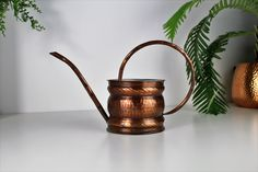 Excited to share the latest addition to my #etsy shop: Vintage Copper Watering Can, Indoor Watering Can, Long Spout Watering Can, Copper Shelf Styling, Indoor Jungle, Rustic Decor #gardendecor #copper #vintagewateringcan #copperwateringcan #germanwateringcan #rusticwateringcan #indoorjunglecan