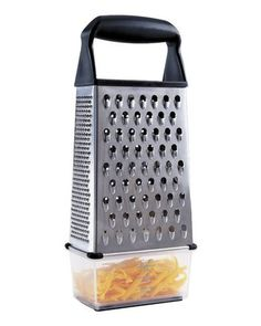 This box grater from OXO has a a storage container  that fastens at the bottom for catching, measuring, and storing freshly grated ingredients. How handy is that!