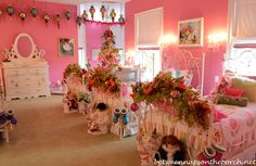 Pink Girl's Bedroom with Pottery Barn Beds and Shades of Light Chandelier and Sconces 08