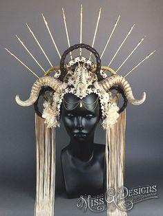 Horned Headdress with Skull by Miss G Designs   etsy.com/shop/MissGDesignsShop  headpiece horns goddess crown flowers