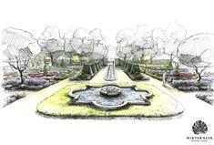 Landscape design perspective rendering helen thomas for Perspective jardin 78