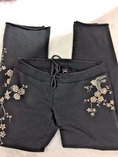 Lucky Brand Cherry Blossom Sparrow Asian Print Sweat Pants Size Large  #LuckyBrand #TrackSweatPants