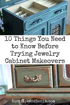10 Things You Need to Know Before Trying Jewelry Cabinet Makeovers - 10 things . - 10 Things You Need to Know Before Trying Jewelry Cabinet Makeovers – 10 things you need to know - Jewelry Box Makeover, Armoire Makeover, Furniture Makeover, Furniture Ideas, Makeover Tips, Repurposed Furniture, Dresser Makeovers, Furniture Refinishing, Refurbished Furniture