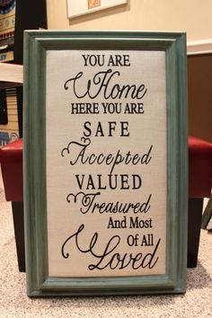 You Are Home Framed Wall Canvas. $125.00, via Etsy.